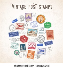 Vector illustration of a Composition of Travel stamps and mail stamps with famous monuments.