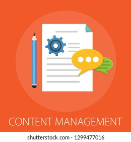 """Vector illustration of computer content management concept with """"content management"""" and computer icons."""
