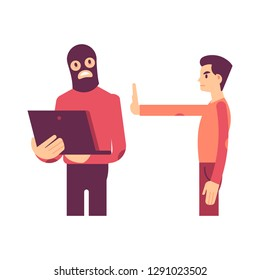 Vector illustration of computer hacker trying to steal personal information from laptop and man with stop hand gesture in flat style isolated on white - sensitive and safe private data concept.