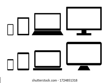 Vector illustration of computer, laptop, tablet and smartphone. Digital devices icons set.