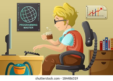 A vector illustration of computer programmer working on his computer