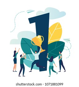Vector illustration, concept of achieving a business goal vector, winner with a gold cup in his hand, victory in the first place, number one, joyful people around the winner