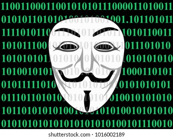 Vector Illustration Concept Art of Anonymoius Hacker Mask or Face on Green 0 1 Digit Screen.  The Mask is The Symbol of Cyber Crimes.