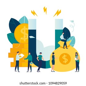 Vector illustration, the concept of attracting investment, the magnet of success, the attraction of money. profitable income