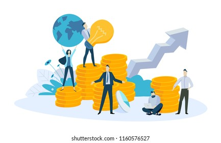 Vector illustration concept of banking, investment, growth money, loans for business. Creative flat design for web banner, marketing material, business presentation, online advertising.