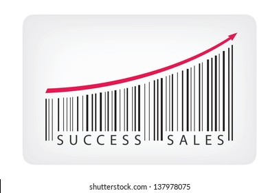 Vector illustration concept of barcode label with success sales text. Isolated on white background.