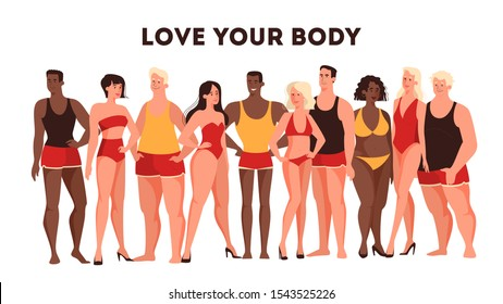 Vector illustration for concept of bodypositive. Female and male character of different body types standing together in their underwear. A company of multicolored and multisized people.