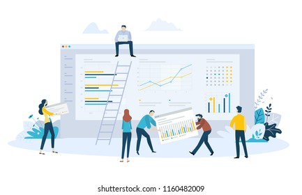Vector illustration concept of business management software, statistics, trends and productivity, app development, data analysis. Creative flat design for web banner, business presentation.