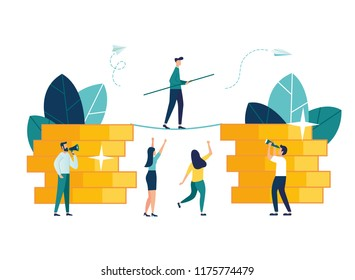 Vector illustration, the concept of business motivation and ambition, the business team overcomes obstacles and achieves success in the financial sphere