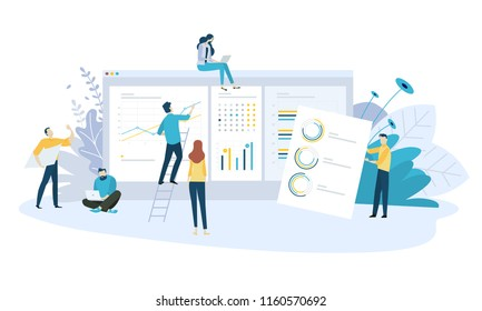 Vector illustration concept of business strategy and planning. Creative flat design for web banner, marketing material, business presentation, online advertising.