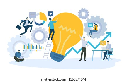 Vector illustration concept of business workflow, from idea to product or service. Creative flat design for web banner, marketing material, business presentation, online advertising.