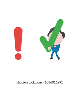 Vector illustration concept of businessman character walking and carrying green check mark icon to red exclamation mark.