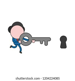 Vector illustration concept of businessman character running and carrying key to keyhole. Color and black outlines.