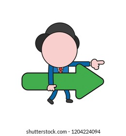 Vector illustration concept of businessman character walking and holding arrow and pointing right. Color and black outlines.