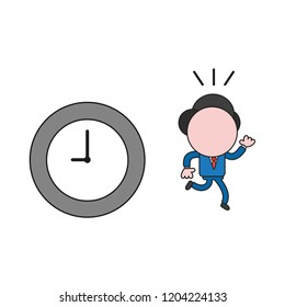 Vector illustration concept of businessman character with clock and running. Color and black outlines.
