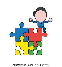 Vector illustration concept of businessman character standing on four connected jigsaw puzzle pieces. Color and black outlines.