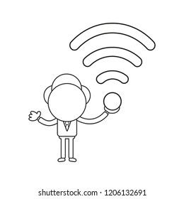 Vector illustration concept of businessman character holding wireless wifi symbol. Black outline.
