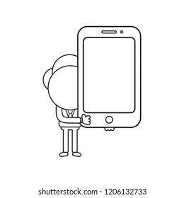 Vector illustration concept of businessman character holding smartphone. Black outline.