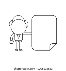 Vector illustration concept of businessman character with blank paper. Black outline.