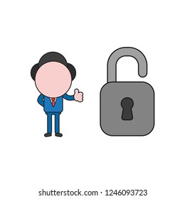 Vector illustration concept of businessman character with opened padlock and giving thumbs-up. Color and black outlines.