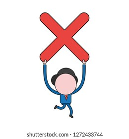 Vector illustration concept of businessman character running and carrying x mark. Color and black outlines.