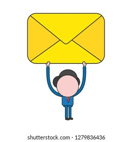 Vector illustration concept of businessman character holding up closed mail envelope. Color and black outlines.