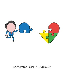 Vector illustration concept of businessman character carrying missing puzzle piece to heart puzzle. Color and black outlines.