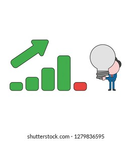 Vector illustration concept of businessman character with sales bar graph and holding light bulb. Color and black outlines.