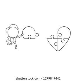 Vector illustration concept of businessman character carrying missing puzzle piece to heart puzzle. Black outline.