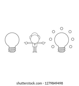 Vector illustration concept of businessman character between light bulbs and pointing. Black outline.