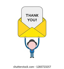 Vector illustration concept of businessman character holding up mail envelope with thank you paper. Color and black outlines.