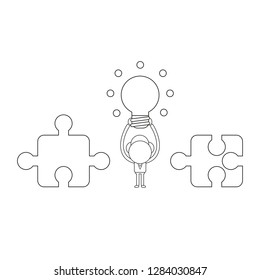Vector illustration concept of businessman character between incompatible puzzle pieces and holding up glowing light bulb. Black outline.