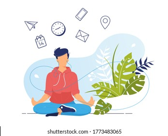 Vector illustration concept of businessman practicing meditation in office. The man sits in the lotus position, the thought process, the inception, and the search for ideas. Practicing Yoga at work.