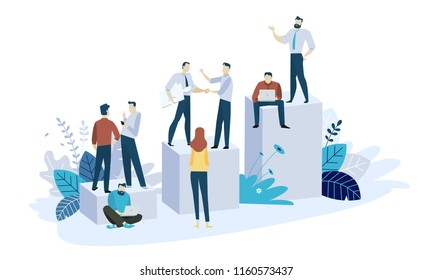 Vector illustration concept of career. Creative flat design for web banner, marketing material, business presentation, online advertising.