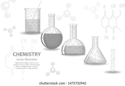 Vector illustration concept, chemical glassware, on a white background, symbolizes science research experiments . Discoveries in chemistry medicine and pharmacology.