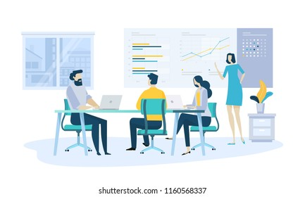 Vector illustration concept of company annual report, business presentation. Creative flat design for web banner, marketing material, business presentation, online advertising.