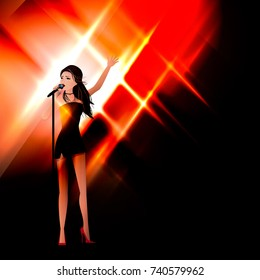 Vector illustration, concept of concert, caraure, music. The girl on the stage sings into the microphone.