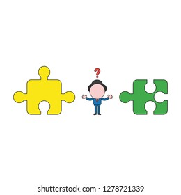 Vector illustration concept of confused businessman character between incompatible puzzle pieces. Color and black outlines.