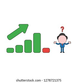 Vector illustration concept of confused businessman character with sales bar graph moving up and down. Color and black outlines.