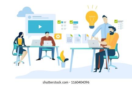 Vector illustration concept of content management, web development, seo, social network, teamwork, cmr application. Creative flat design for web banner, marketing material, business presentation.