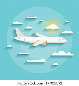 Vector illustration concept of detailed airplane flying through clouds in the blue sky in modern flat design. Isolated on stylish background.