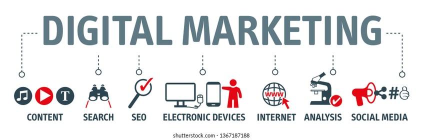 Vector Illustration concept of digital online marketing. Icons and symbols for content marketing, social media, viral, seo, website, keyword, advertise and internet marketing