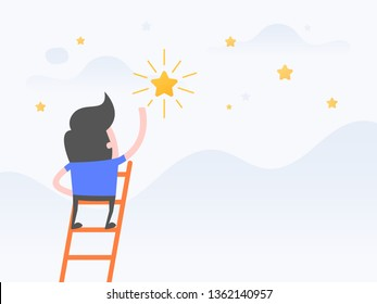 Vector illustration concept of dreams, Goals, Businessman steps onto ladder reaching to the star.