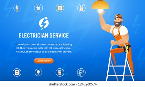 Vector Illustration Concept Electrician Service. Horizontal Banner Image Smiling Cartoon Character in Blue Uniform Changing Light Bulb in Chandelier. Standing Stepladder. Isolated on Blue Background