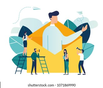 Vector illustration, concept of an e-mail message, a new incoming sms, a large person climbs out of the envelope and notifies the message, mail notification sending
