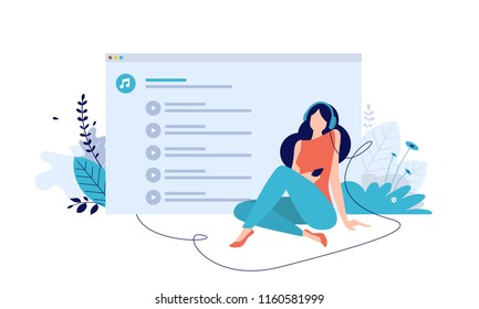 Vector illustration concept of entertainment, music applications, playlist, online songs, radio stations. Creative flat design for web banner, marketing material, online advertising.