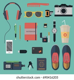 Vector illustration concept of everyday carry and outfit  in flat style. Accessories, things, tools, devices, essentials, equipment, objects, items. Icons collection in stylish colors.
