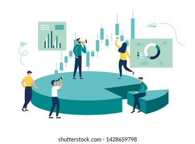 Vector illustration, Concept of financial management, Statistics and business report, little people as puzzles collect infographics