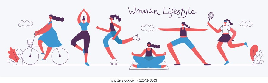 Vector illustration concept flat design of women doing sport and healthy lifestyle background