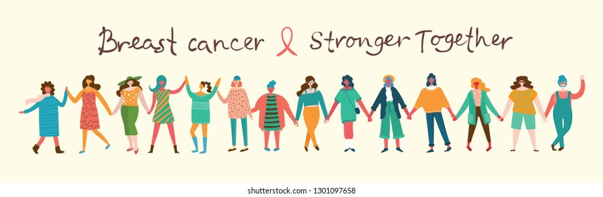 Vector illustration concept flat design of women of the world against breast cancer. Concept of breast cancer awareness with hand drawn text.